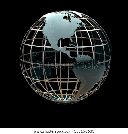 Glossy metallic globe continents on a metal grid facing the Americas - stock photo