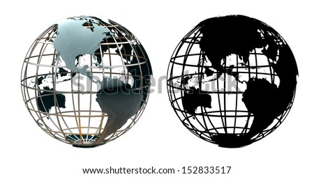 Glossy metallic globe continents on a metal grid facing the Americas - with corresponding alpha mask - stock photo