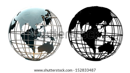 Glossy metallic globe continents on a metal grid facing the South Asia and Indonesia - with corresponding alpha mask - stock photo