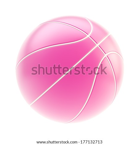 Glossy pink basketball ball 3d render isolated over white background - stock photo