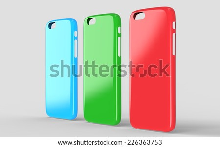 Glossy plastic cases mock-up for smartphone - stock photo