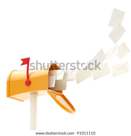 Glossy plastic mailbox with a flock of letters flying into it, isolated on white - stock photo