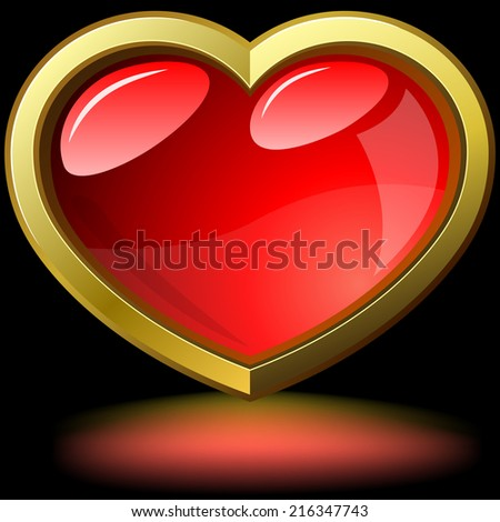 Glossy purple heart rimmed with golden frame isolated on black background. - stock photo