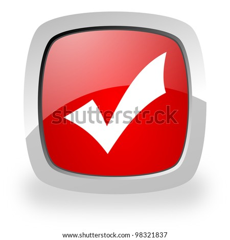 glossy red square icon with shadow on white background - stock photo