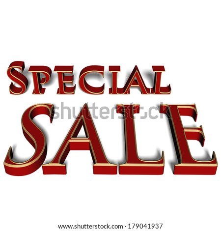 Glossy red three-dimensional inscription Special Sale as a sign. - stock photo