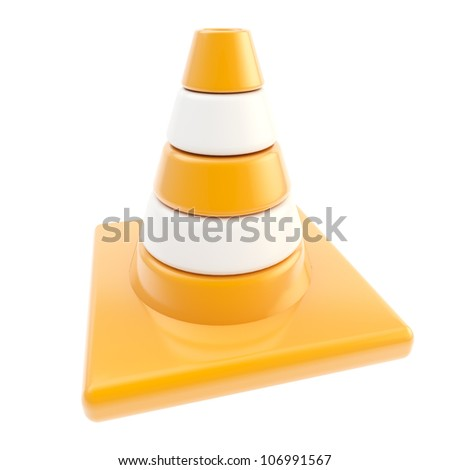 Glossy road cone colored orange and white isolated - stock photo