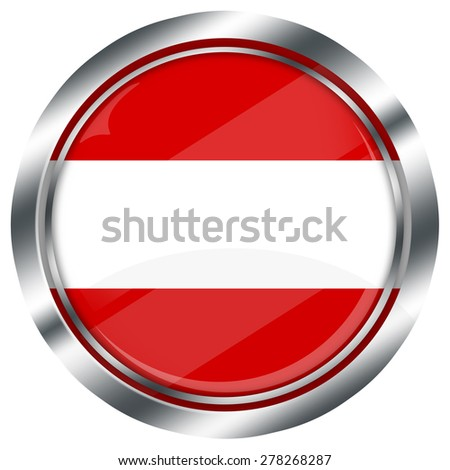 glossy round austrian flag button for web design with metallic border, illustration, white background, isolated,  - stock photo