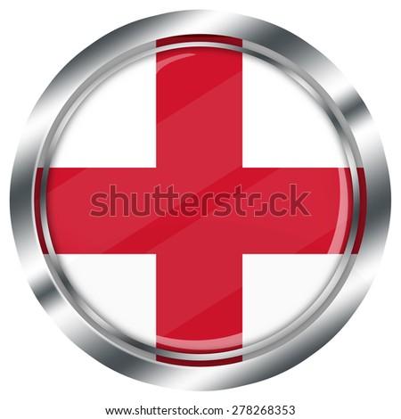 glossy round english flag button for web design with metallic border, illustration, white background, isolated,  - stock photo