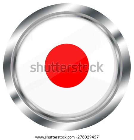 glossy round japanese flag button for web design with metallic border, illustration, white background, isolated,  - stock photo