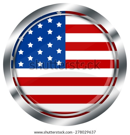 glossy round usa flag button for web design with metallic border, illustration, white background, isolated,  - stock photo