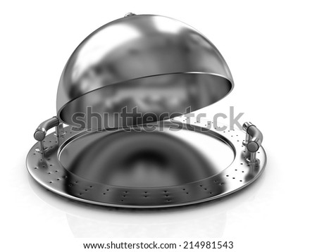 Glossy salver dish under a cover on a white background - stock photo