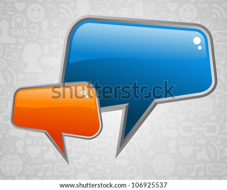 Glossy social media speech bubbles with icons background. - stock photo