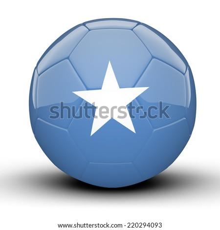 Glossy Somalia football ball flag isolated on white background - stock photo
