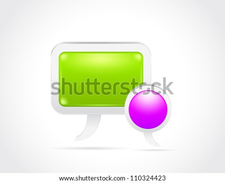Glossy speech bubble isolated on gray white background - stock photo