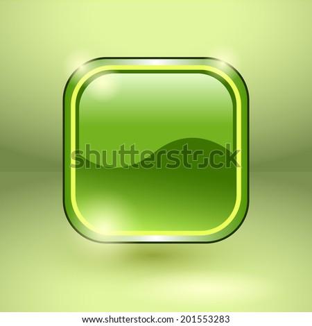 Glossy square empty button. Raster illustration. - stock photo