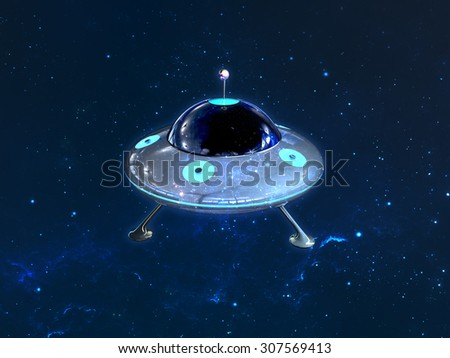 Glossy UFO on space background - stock photo