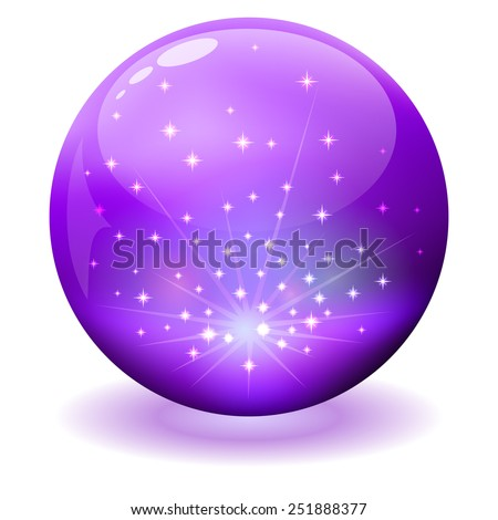 Glossy violet sphere with sparks inside. - stock photo