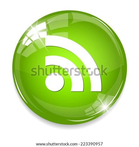 glossy web button with RSS feed sign - stock photo