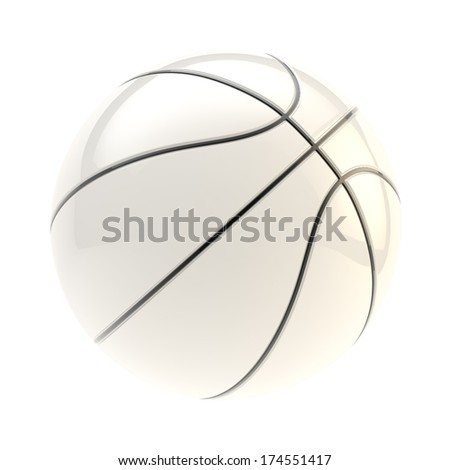 Glossy white basketball ball 3d render isolated over white background - stock photo