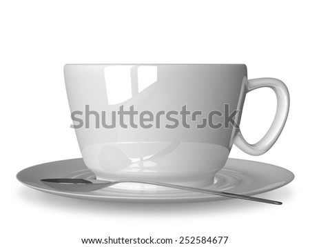 Glossy white cup and spoon on saucer isolated on white, front view - stock photo