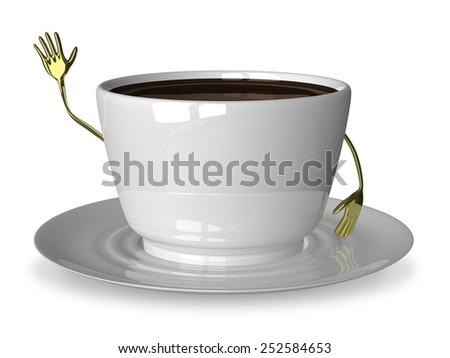 Glossy white cup of coffee or tea character waving hand isolated on white - stock photo