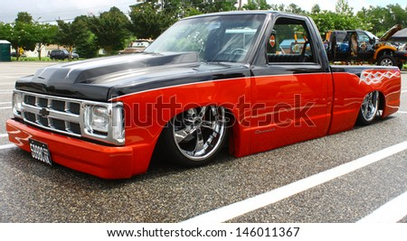 GLOUCESTER, VA- JULY 13: A Custom Chevy S-10 P/U in the (middle peninsula car club) blast from the past car show at the Main St shopping center in Gloucester, Virginia on July 13, 2013 - stock photo