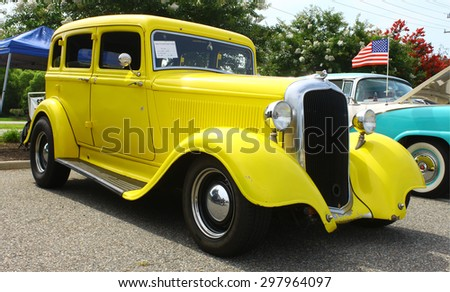 GLOUCESTER, VA- JULY 19: A 1933 Plymouth at the 2015 Middle Peninsula   Classic Car Club blast from the past car show in Gloucester Virginia - stock photo