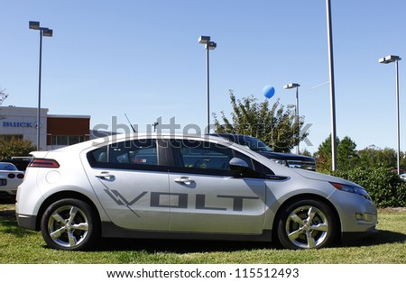 GLOUCESTER, VA- OCTOBER 13:A Chevrolet Volt at the Ken Houtz Chevrolet Buick, Camaro VS Corvette Humane Society car show and food drive in Gloucester Virginia on October 13, 2012 - stock photo