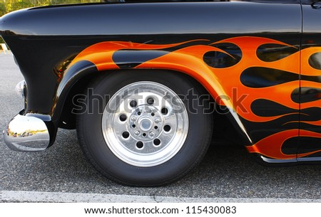 GLOUCESTER, VA- OCTOBER 12:A vintage pickup tire and fender at the 29th Annual 2012 MPCC(middle peninsula car club)meeting at the Main St shopping center in Gloucester, Virginia on October 12, 2012 - stock photo
