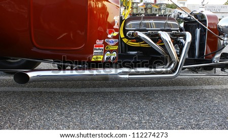 GLOUCESTER, VA- SEPTEMBER 7:Side of a T-Bucket at the at the 23rd Annual 2012 MPCC(middle peninsula car club)meeting at the Main St shopping center in Gloucester, Virginia on September 7, 2012. - stock photo