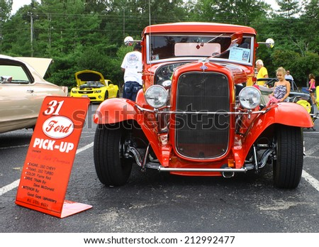 GLOUCESTER, VIRGINIA - AUGUST 23, 2014:A 1931 Ford pickup in the DRIVE-IN FOR DIABETES CAR SHOW Sponsored by Tractor Supply in August in Gloucester Virginia. - stock photo
