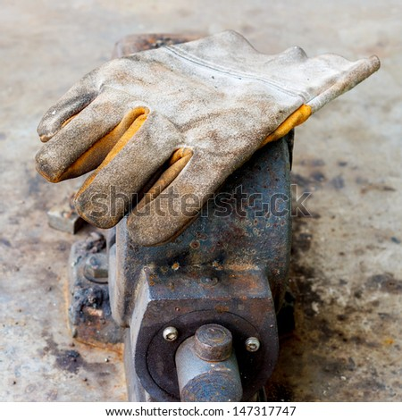 glove safety for industrial job  - stock photo