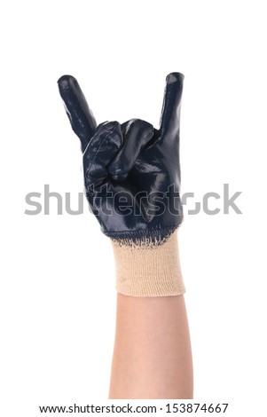 Gloved hand with disagreement gesture - stock photo