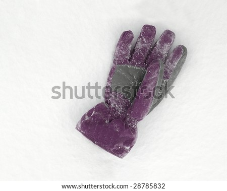 Gloves lying on the fresh snow - stock photo