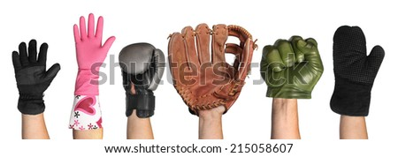 Gloves on a white background - stock photo