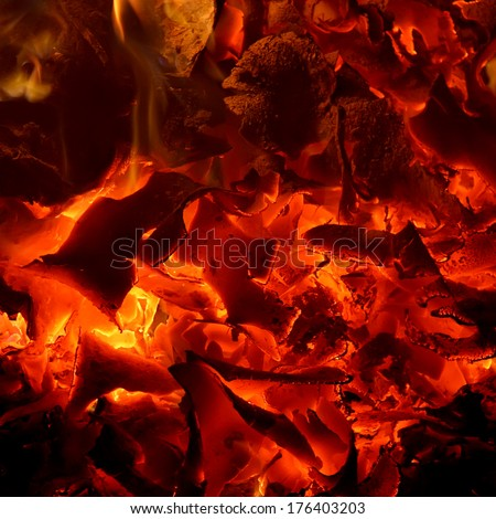 Glowing ashes - embers background - stock photo