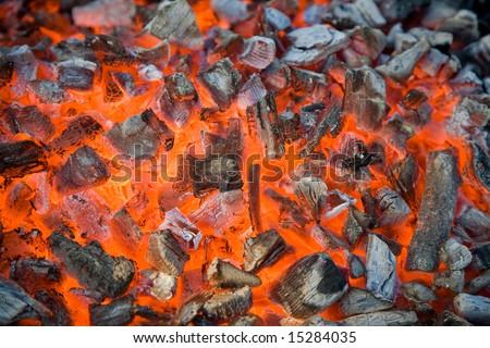 glowing coals background texture - stock photo