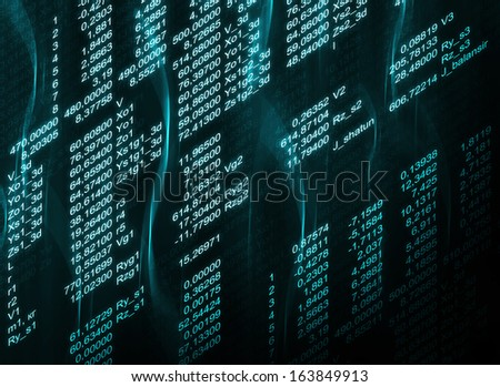 Glowing digital code on a dark background. Business concept - stock photo