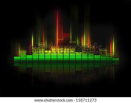 glowing equalizer on black background - stock photo