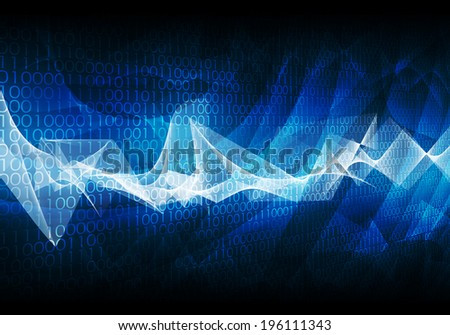 Glowing figures and waves. Hi-tech technological background - stock photo
