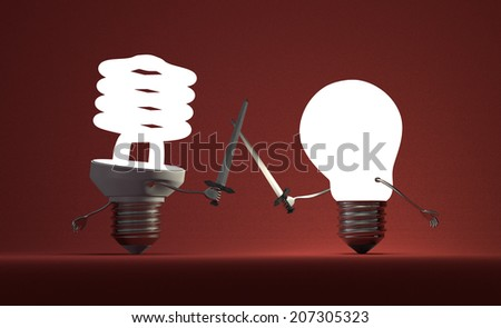 Glowing fluorescent light bulb and tungsten one fighting duel with swords on red textured background - stock photo