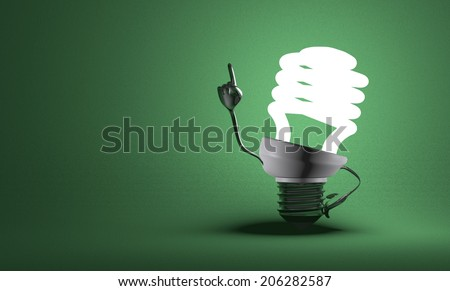 Glowing fluorescent light bulb character with big metallic hands in moment of insight on green textured background - stock photo