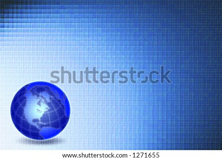 Glowing globe with binary code and gradient blue background - stock photo