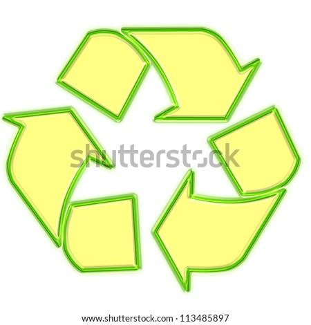 Glowing green recycle logo - stock photo