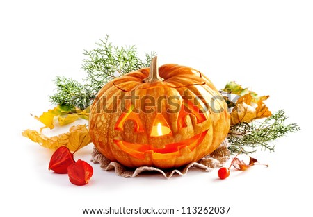 Glowing Halloween Pumpkin.  Isolated on white background - stock photo