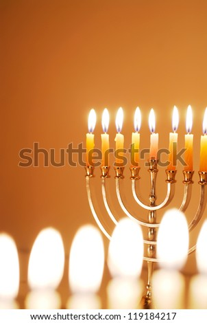 Glowing Hanukkah Candles - stock photo