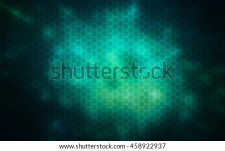 Glowing hexagon,Nanotechnology abstract background - stock photo