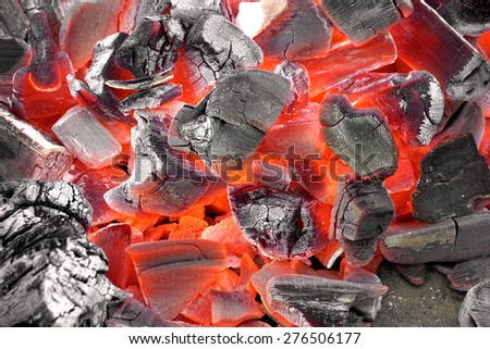Glowing Hot Charcoal Ready To Cookout Background Texture - stock photo