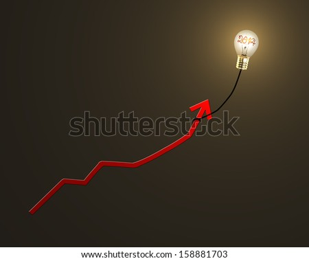 "Glowing lamp balloon with ""2014"" inside hanging growth red arrow flying in dark space - stock photo"