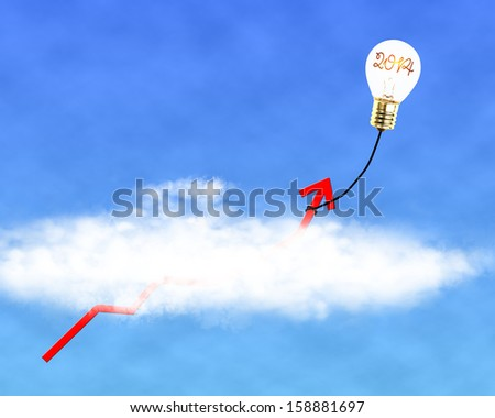 "Glowing lamp balloon with ""2014"" inside hanging growth red arrow flying through cloud in the sky - stock photo"